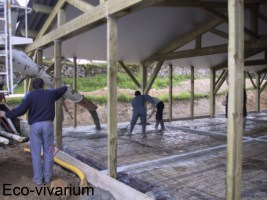 Construction de l'eco-vivarium: dalle beton